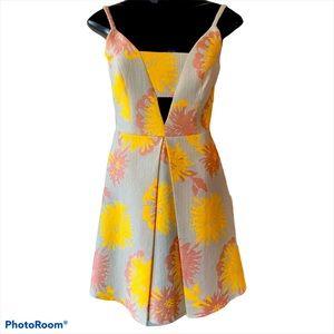 TOPSHOP Jacquard Flower yellow pink dress, size 2